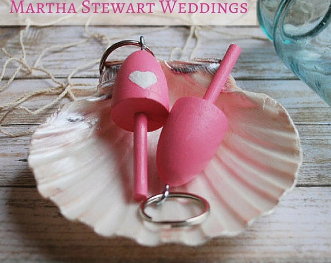 Bridesmaid Gift  - Lobster Buoy Keychain - Pink Wedding Favor, Miniature Lobster Buoy Wedding Favors Nautical Wedding