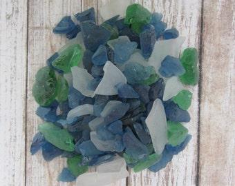 Beach Decor Sea Glass - 2 LBS - Blue, Green, and White Hand Tumbled Beach Glass Mix - Nautical Decor