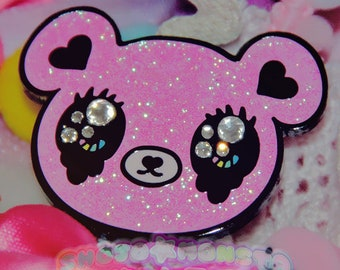 Cry Bby Kuma | Shojo Kawaii Nickel noir émail dur plaqué Pin
