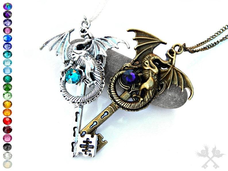 db80cc1b53 Dragon Lovers Set / Couples Necklace Set / Skeleton Key | Etsy