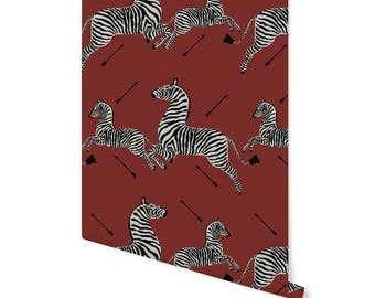 Zebras Removable Wallpaper- JUMPING ZEBRAS- Simply Peel and Stick!  Self- Adhesive Fabric, Repositionable and Reusable! Highest Quality!