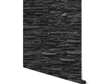 Removable Wallpaper- ONTARIO ROCKS- Peel and Stick, Self- Adhesive Fabric - Repositionable - Reusable!