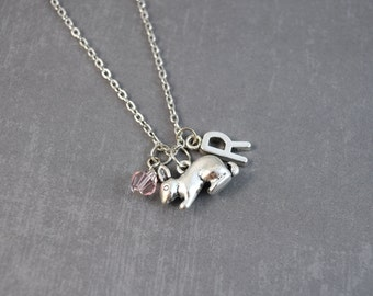Silver Rabbit Necklace - Bunny Necklace - Silver Rabbit Pendant - Personalized Initial Jewelry - Bunny Rabbit Jewelry - Woodland Necklace