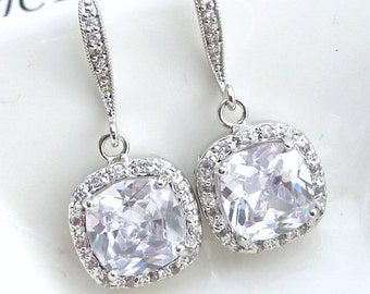 Wedding Earrings Bridal Earrings- AAA Halo Clear White Square Cubic Zirconia with Platinum CZ Earrings
