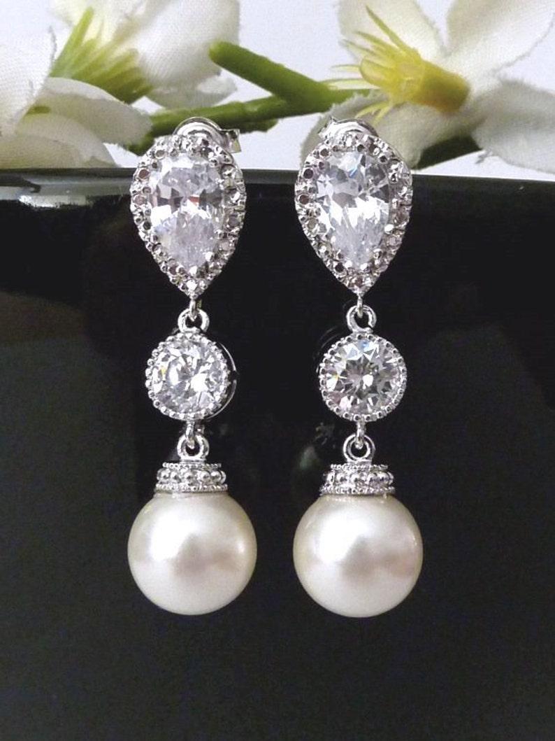 Wedding Earrings Bridal Earrings Cream Ivory Round Pearl Cubic Zirconia Connectors Silver Dangle Earrings