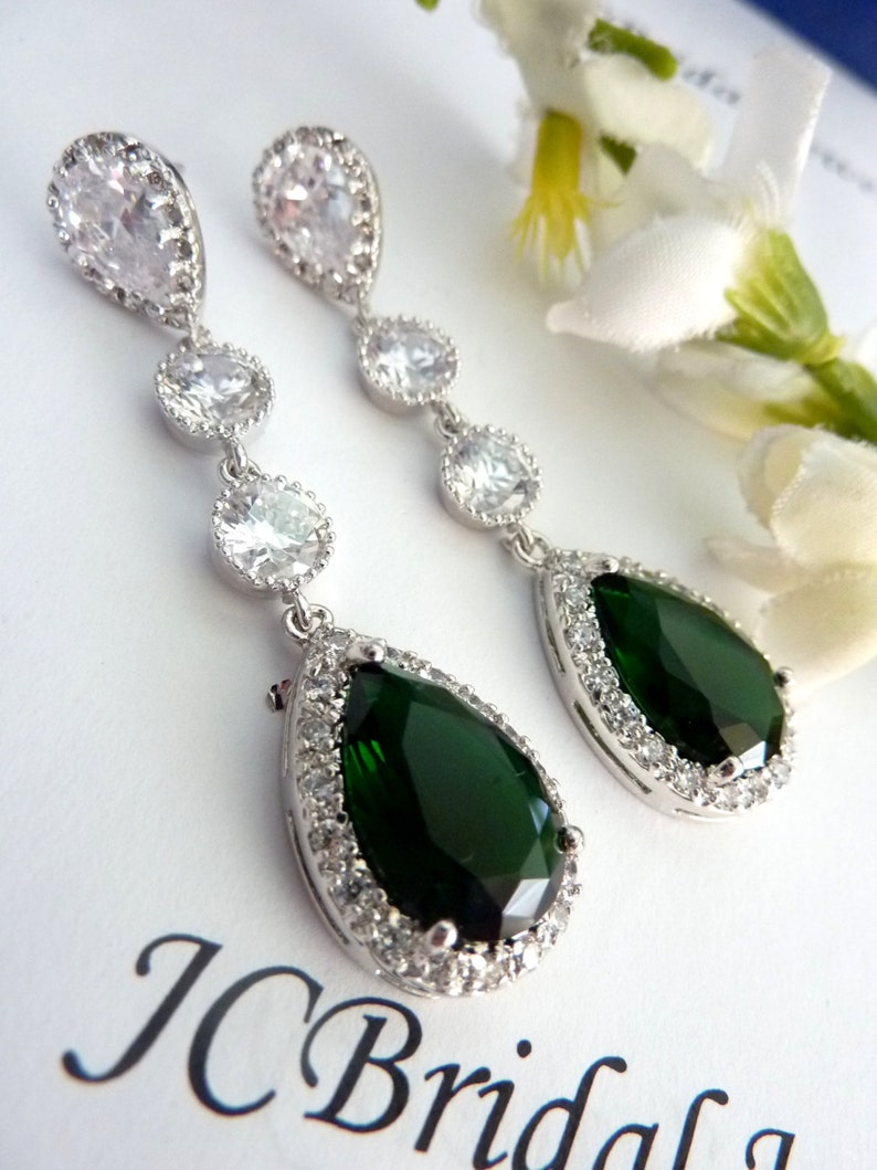 Wedding Bridal Earring Long LARGE Halo Emerald Green Peardrop Cubic Zirconia Multi Round CZ Drops White Gold Plated  CZ Post Earrings