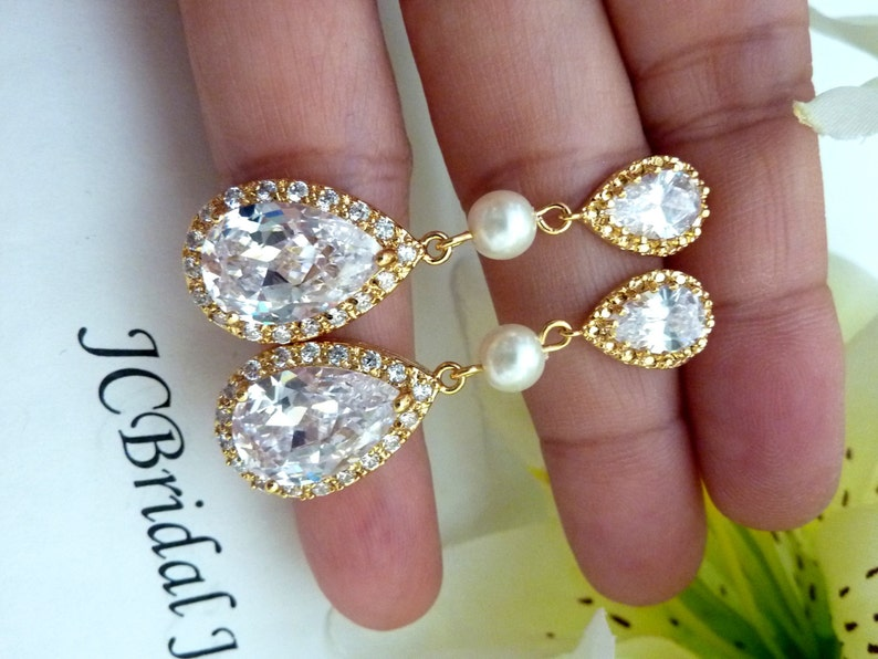 Round Ivory Pearl  with Yellow Gold Plated Peardrop Cubic Zirconia Post Earring LARGE White Clear Peardrop Cubic Zirconia Bridal Earring