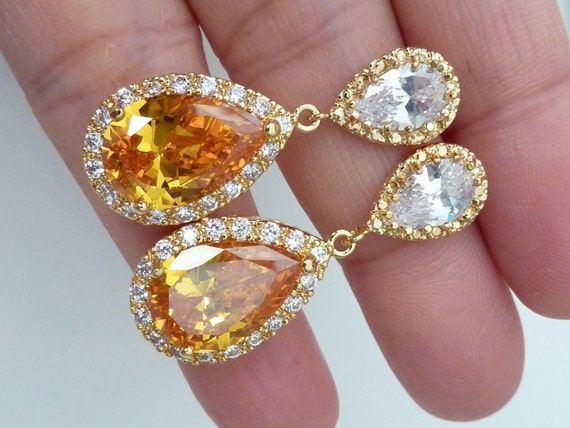 Large Pear Citrine Dangle Diamond Halo Earrings Women Jewelry Sterling Silver