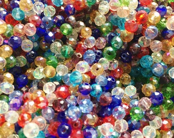 faceted beads glass rondelle rondelles Tiny 2.5x1.5mm, rondelle beads 195-200 crystal rondelles Rosy Brown Opal Rondelles
