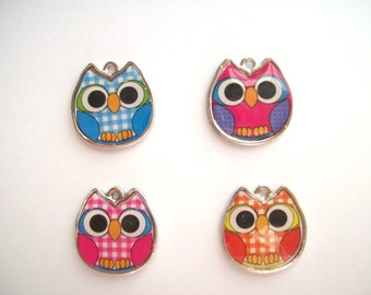 Owl Gingham Doublesided Charm 3 Colors 20mm