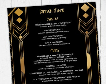 great gatsby menu birthday dinner party new year art deco 1920s gangsters flappers speak easy glitz and glamour vintage digital