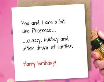 Funny Birthday Card Greeting Prosecco Wine Champagne Sarcastic Optimist Pessimist Cards
