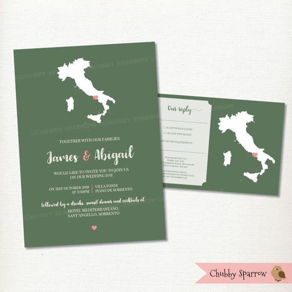 Kaart Bruiloft Uitnodiging Italie Om Het Even Welk Land Etsy