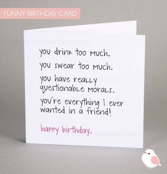 Funny Birthday Card Funny Greeting Card Birthday Card Etsy