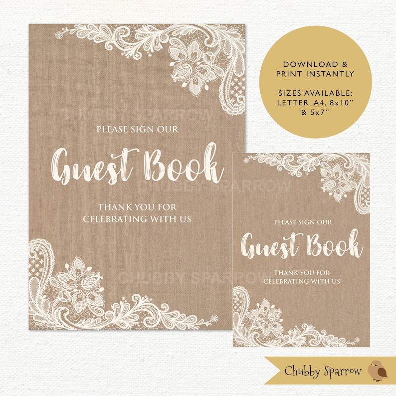 Guest Book Sign Lace & Linen Wedding Decor Rustic Shabby image 0