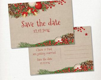 Christmas Wedding Save the Date Postcard, Engagement, Garland & Linen, Printable, Berries, Pine cones and Bells