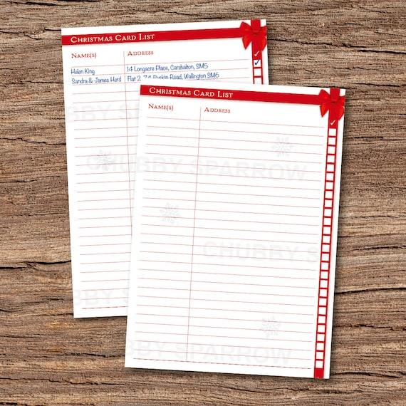 picture regarding Printable Christmas Card List named Xmas Card Record Organisation Submitting Sheet A4 Quick obtain Print at dwelling