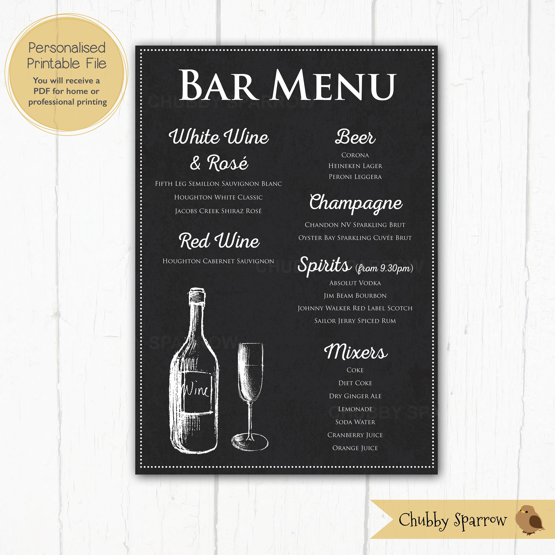 Bar-Getränke-Menü-Preis-Liste Tafel Effekt-Schild   Etsy