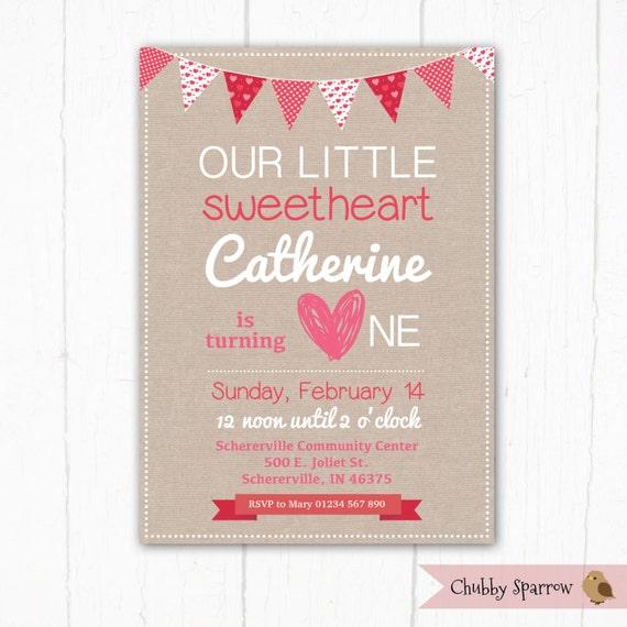 1 Geburtstags Einladung Unsere Kleine Schatz Liebe Herzen Etsy