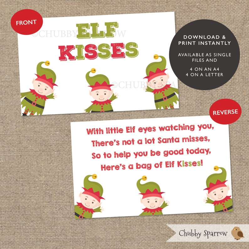 photograph regarding Elf Kisses Printable known as Elf Kisses Sweets Xmas Desire Favour Bag Toppers, Stocking Filler, Xmas Eve Box, Printable, Instantaneous obtain
