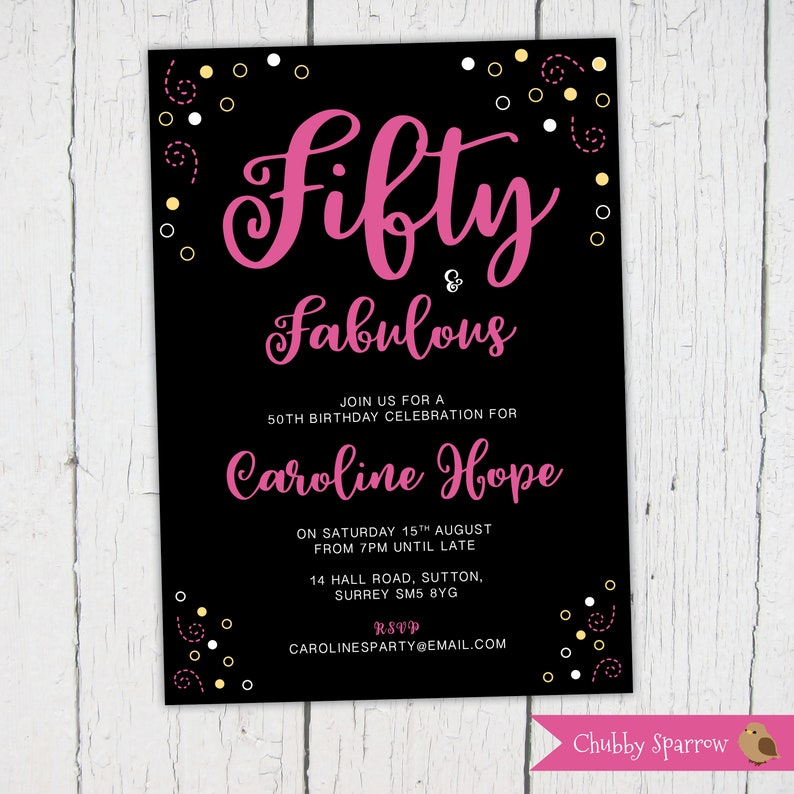 50th Birthday Invitation Fifty And Fabulous Party 30 40