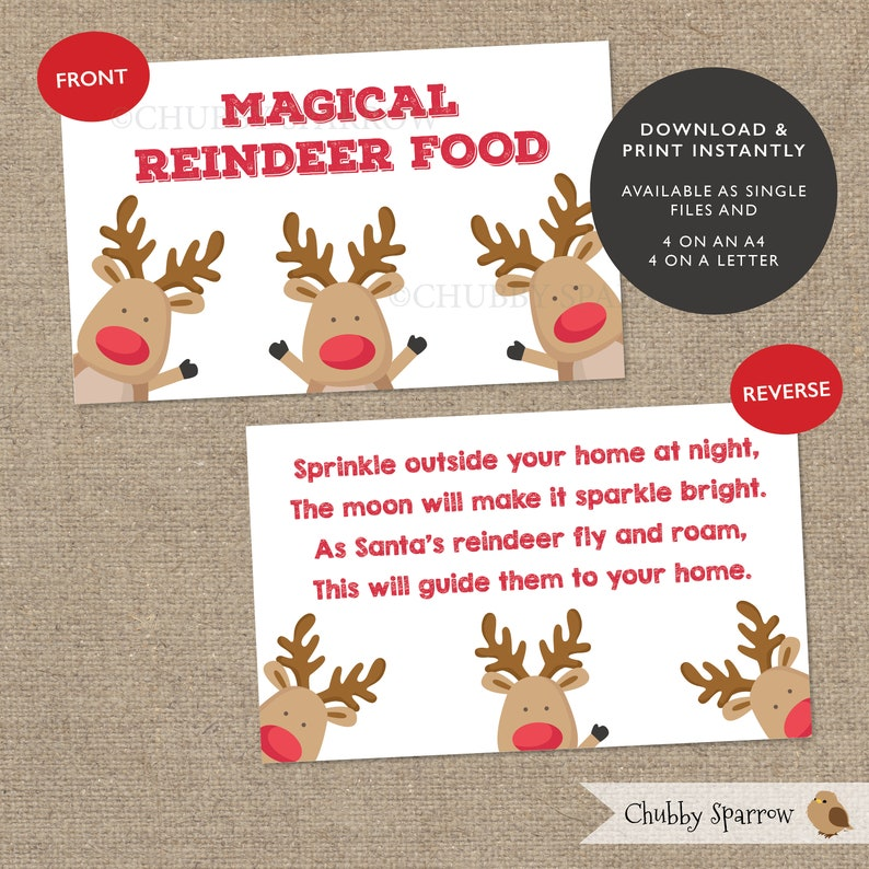image about Reindeer Food Printable identified as Reindeer Meals Xmas Want Favour Bag Toppers, Stocking Filler, Xmas Eve Box, Printable, Prompt down load