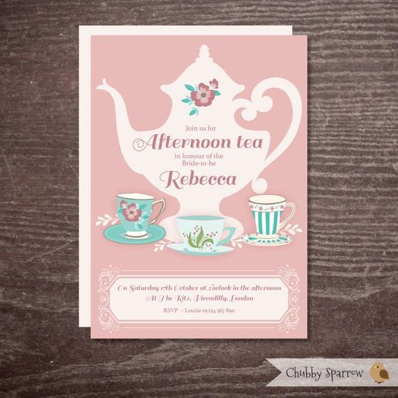 Bridal Shower Invitation Hen Party Bachelorette Afternoon Tea Alice In Wonderland Party Baby Shower British Summer Time Digital