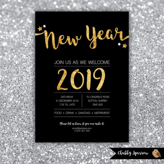 New Year S Eve Party 2018 2019 Invitation Christmas Etsy