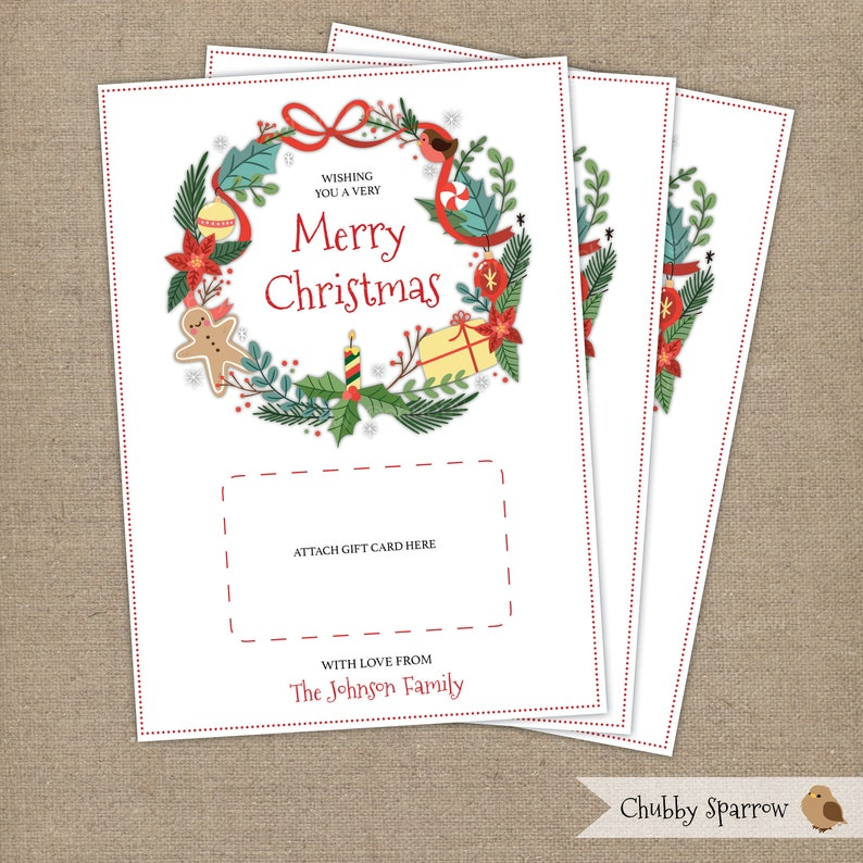 graphic about Secret Santa Sign Up Sheet Printable identified as Xmas Reward Card, Individualized Printable 5x7\