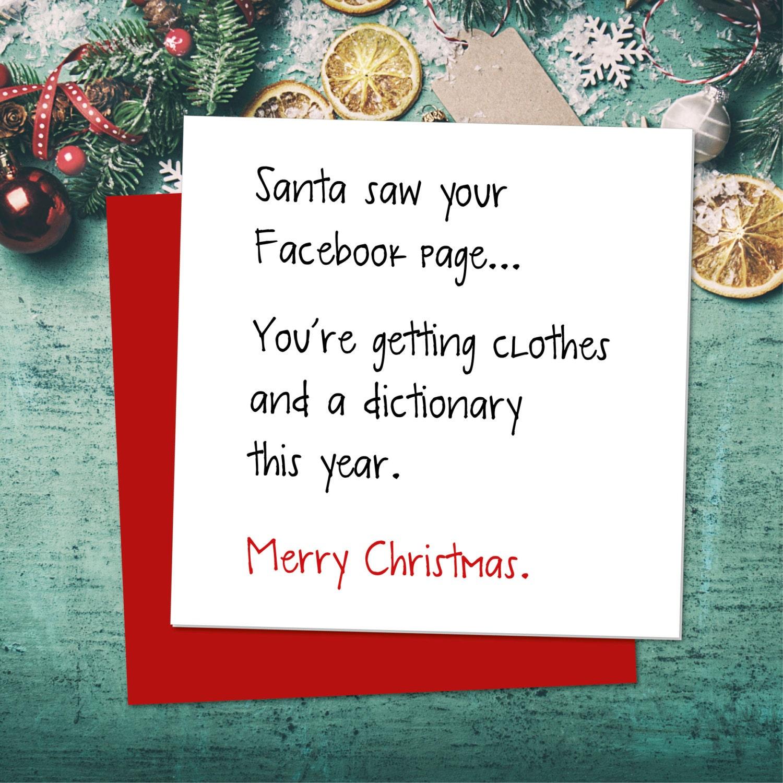 Funny Christmas Card Funny Greeting Card Xmas Card Facebook Etsy