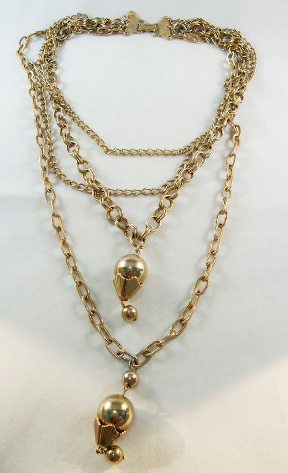 Vintage Gold Tone Multi Chain Necklace