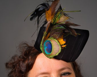 Black Velvet Cocktail Hat with Peacock Feather Trim