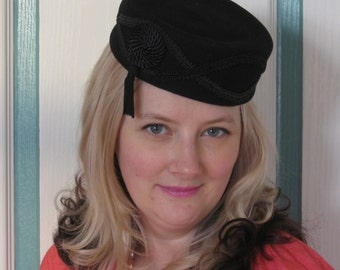 40s Style Black Felt Hat with Frogging and Tassel