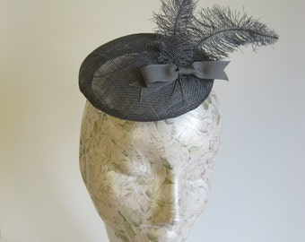 50s Style Button Hat, Vintage Inspired Grey Sinamay Percher with Sinamay Feathers and Bow