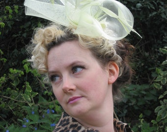 40s Style Yellow Fascinator, Crin and Feather on a Headband