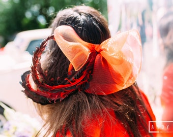 Red and Black Fascinator, Crin and Feather 50s Style