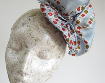 40s Style Fascinator Hat, Rockabilly Vintage Inspired made from Blue Floral Upcycled Silk Satin Scarf