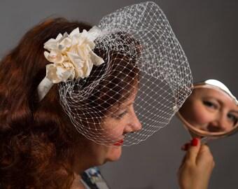 Bridal Ivory Birdcage Veil Hairband with Silk Flowers