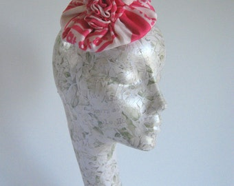 50s Style Saucer Fascinator Hat, Vintage Inspired made from Pink and White Upcycled Satin Scarf