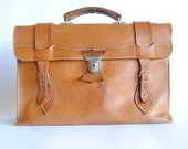 Unique vintage caramel LEATHER BRIEFCASE  (retro school bag) (003)
