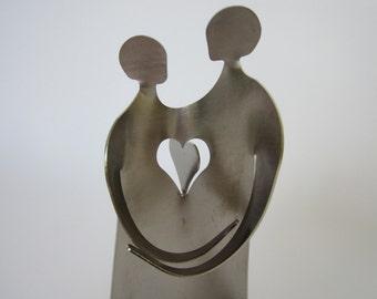 Wedding shower gift -LOVERS metal sculpture miniature- cake topper