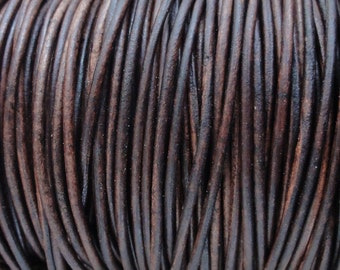 1.5mm Green Natural Dyed Genuine Leather Round Cord 10 Yard Increments