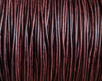 5mm Leather Bracelet Strip GF5M-134 5mmx2mm Dark Brown Flat Distressed Leather Cord
