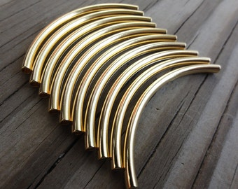 Curved Metal Tube Beads Gold Plated Brass 50x3mm - Great for Leather Bangle Bracelets