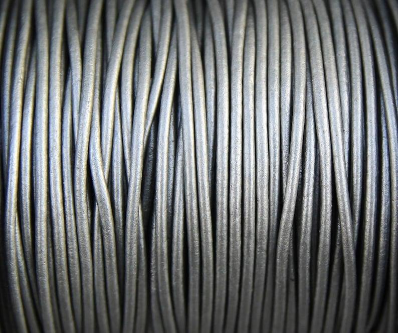 Metallic Silver 10 Yards Metallic Grey Genuine Leather 2mm Round Cord