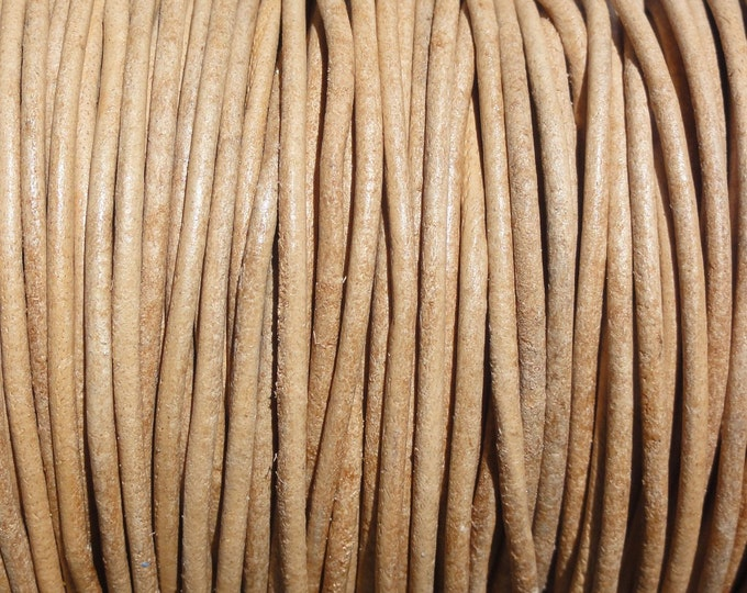 1.5mm Natural Leather Cord Round Undyed - 10 Yard Increments