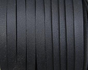 "Black Deerskin Leather Lace 3/16"" - By the Yard - 4.76mm width"