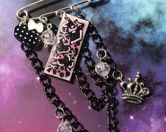 OOAK Card Suites Black & Pink Kawaii Punk Kilt Safety Pin