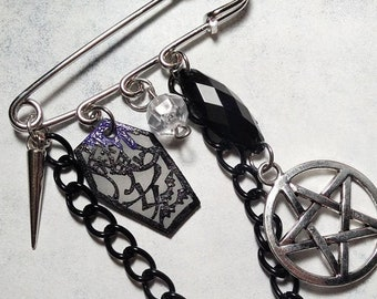 OOAK Japanese Witch Kanji Coffin & Pentagram Wa goth Charms Kilt Safety Pin