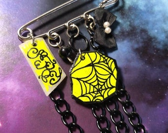 OOAK Black & Yellow Spider webs Charms Kawaii Punk Kilt Safety Pin